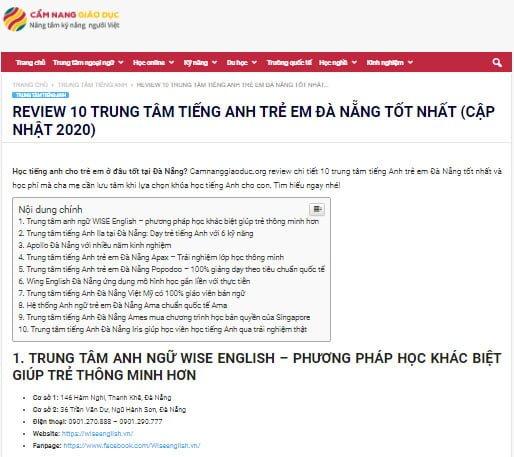 Báo Cẩm nang giáo dục nói về WISE ENGLISH