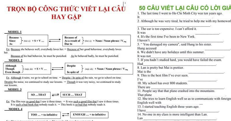 công thức viết lại câu trong tiếng Anh