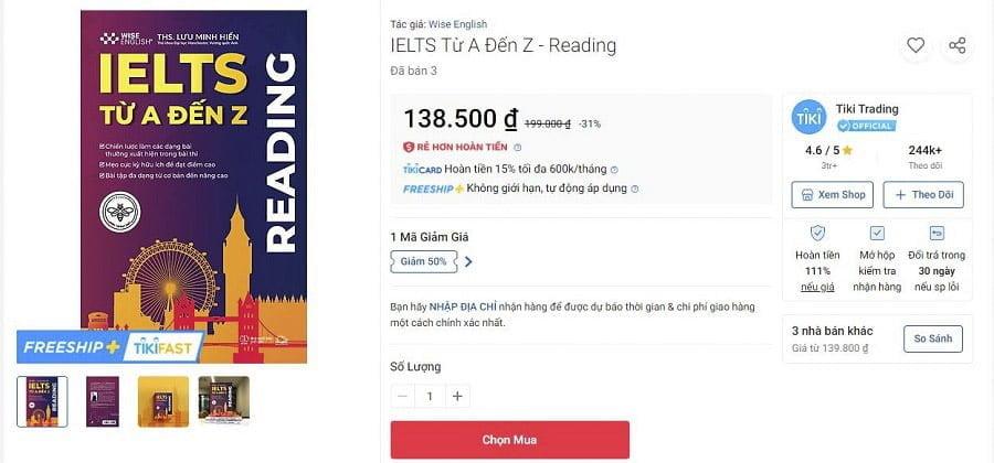 Sách IELTS READING Cẩm nang tự học IELTS từ A-Z Tiki