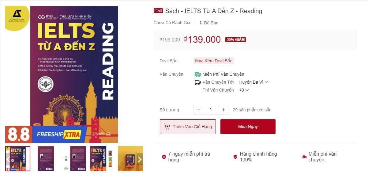 sách IELTS READING TỪ A-Z Shopee