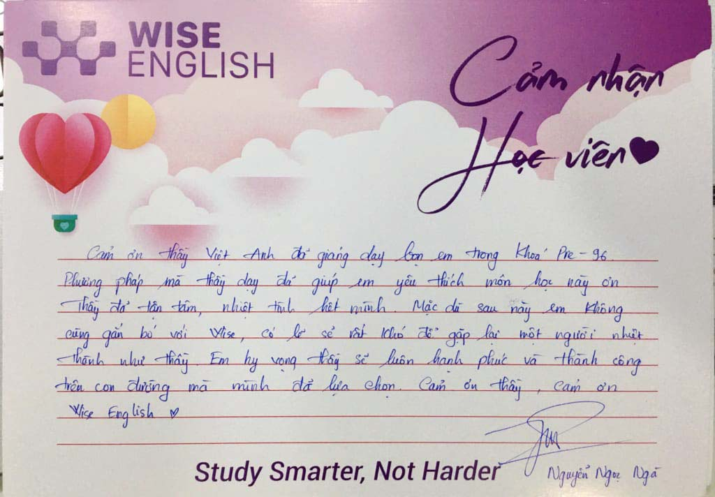 cảm nhận học viên wise english