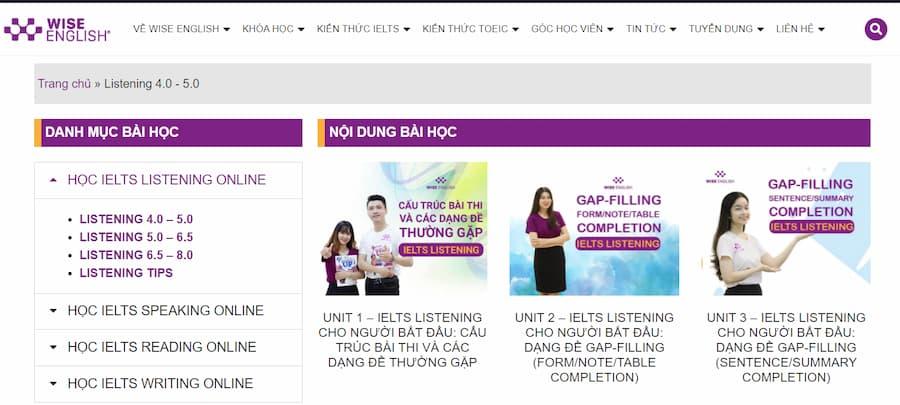 Website học IELTS Online Hiệu Quả - WISE ENGLISH